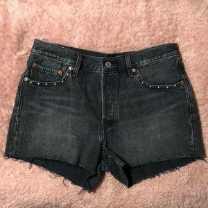 Levi's Black and Embellished Jean Shorts